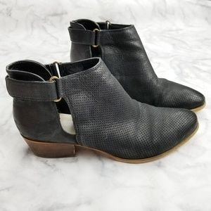 Caslon|Black Perforated Ankle Buckle Booties